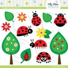 Darling Ladybug Clip Art by Kelly Medina via Etsy