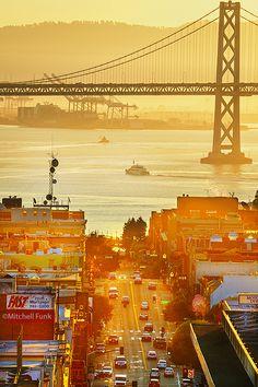 Broadway With Bay Bridge In The Background at Sunrise, San Francisco www.mitchellfunk.com