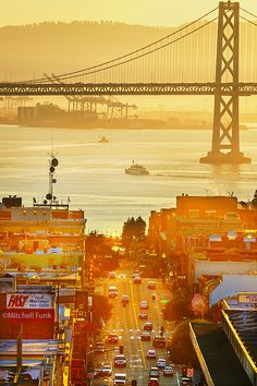 Broadway With Bay Bridge In The Background at Sunrise, San Francisco www.mitchellfunk.com