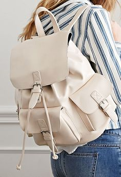 $32.90 Faux Leather Buckled Backpack
