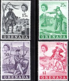 Grenada 1970 Pirates Set Fine Mint SG 367 70 Scott 345 8 Other Stamps Here