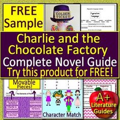 This is a FREE sample of our Charlie and the Chocolate Factory Novel Study Bundle. Samples of the following components are included: Charlie and the Chocolate Factory Bookmarks Vocabulary development Chapter questions and answers Grammar activities Story element activities Interactive Notebooks - for Story Elements Activities, Grammar Activities, Teaching Resources, Teaching Ideas, Charlie Chocolate Factory, Free Lesson Plans, 2nd Grade Reading, Book Study, Interactive Notebooks