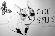 Cute sells   Bulleke Ink drawing of a cute french bulldog looking at a butterfly