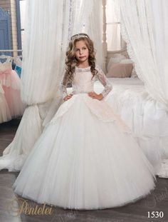 3301d8c6004e Gorgeous Hot Sales Flower Girl Dresses for Wedding Party with Sash Long  Sleeve Lace Tulle Pageant Gown New First Communion Dress