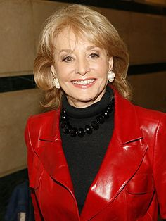 barbara walters looks cool in red leather. Barbara Walters, Beautiful Old Woman, Celebs, Celebrities, Looks Cool, Classic Beauty, Old Women, Leather Jacket, Female