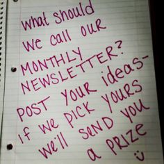 Contest Time! Help us name our newsletter!!