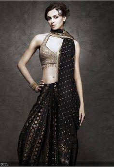 Ritu Kumar classic. I MUST HAVE A BLACK AND GOLD SARI! I MUST!