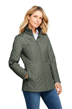 Women's Petite Quilted Barn Insulated Long Jacket from Lands' End Long Jackets, Winter Jackets, Bright Spring, Barn Quilts, Clothes, Shopping, Color, Style, Fashion