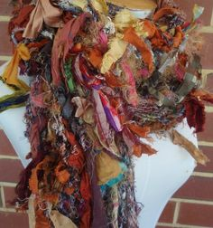 tattered raw recycled sari silk  hand crocheted earthy by plumfish