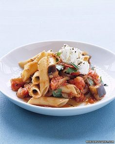 Penne alla Norma (I like to add ground beef and substitute a sprinkle of parmesan for the ricotta--but the recipe as is is delicious too)