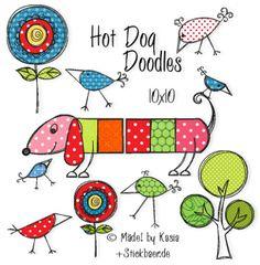 Mini Hotdog Doodles Doodlkes für den 10x10 Rahmen, auch in dst