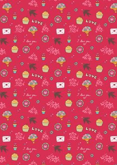 Valentines Day scrapbook paper - I Love You pink Scrapbook Background, Paper Background, Scrapbook Paper, Scrapbooking, Textile Patterns, Print Patterns, Papel Vintage, Vintage Flowers Wallpaper, Hello Kitty Images