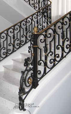 Interior wrought iron staircase railings