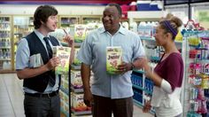 In this commercial, a man stops at a convenience store for directions. The person working behind the counter and talks to him a loud voice, yet enthusiastically. The man grabs a box of Jingos from Pepperidge Farm and betters his mood. His daughter walks in and wants to know what has been going on. She gets amped up once she tastes the delicious flavor of the crackers.