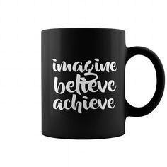 Imagine Believe Achieve Funny Coffee Cup 11OZ Black Ceramic coffee mug Coffee Mugs Tea Cups