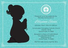 Girl Kneeling First Communion Invite Digital by AnnounceItFavors First Communion Invitations, Immaculate Conception, First Holy Communion, Special Promotion, Single Image, Printable Invitations, Text Color, Printing Services, Catholic