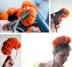 How to make an easy flower crown headband . Free tutorial with pictures on how to make a flower crown in under 40 minutes by decorating and jewelrymaking with hot glue gun, hair band, and fake flowers. Inspired by floral. How To posted by Hair Romance. Diy Flower Crown, Diy Crown, Diy Flowers, Plastic Flowers, Fake Flowers, Fabric Flowers, Diy Headband, Floral Headbands, Headband Pattern