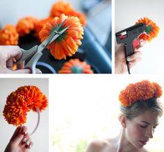 Diy Headband, Floral Headbands, Headband Pattern, Baby Headbands, Headband Hairstyles, Diy Hairstyles, Costume Carnaval, Hair Romance, Floral Headpiece