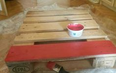 DIY red coffee table made from pallets-first step