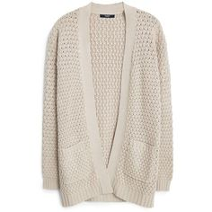 Mango Side pockets cardigan ($61) ❤ liked on Polyvore featuring tops, cardigans, beige, women, pink top, chunky cable knit cardigan, pink cardigan, cable cardigan and cable knit cardigan