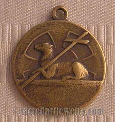 Antique Religious Medal Catholic Sterling or Bronze Agnus Dei Lamb of God #1038