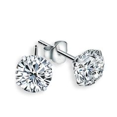 Authentic Fine Sylver Jewelry Classic Stud Earring Czech Sterling Free Shipping