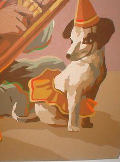 Vintage Paint By Number Paintings | Sidekick Pup and Tuba Clown Vintage Paint By Numbers Painting
