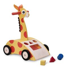 The Wonderworld Giraffe Walker 'N Shape Sorter is a fun wooden baby walker with crinkly ears and moving eyes.