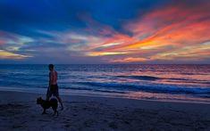 Random dude walking his dog in Phuket. And a decent sunset Business Travel, Phuket, Travel Around The World, Travel Photography, Shots, Walking, Sky, Mountains, Sunset