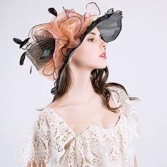 [AU$39.00] Ladies' Beautiful Cotton/Net Yarn With Silk Flower Floppy Hat