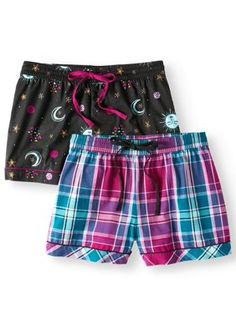 c6b6395e66 Secret Treasures Women s and Women s Plus 2-Pack Poplin Sleep Short with  Drawstring Sleepwear Women