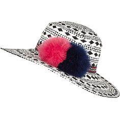 d01bb5c8 Black geometric pom pom shaker hat - hats - accessories - women Black Pom  Pom Hat