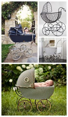 Vintage baby carriage---Oh if I had somewhere to store it.  Great prop for newborns and expectant moms.