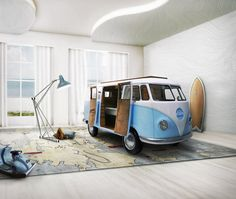 Circu launches a magical, limited edition, VW bus inspired bed for children that comes complete with a bed, sofa, TV, fridge, and desk.