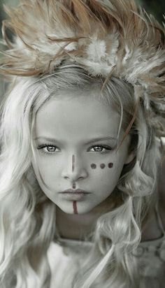 Face Paint - ceremonial or war paint Krieger Make-up, Pintura Tribal, Warrior Makeup, Tribal Makeup, Lost Girl, Photographing Kids, War Paint, Costume Makeup, Child Models