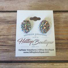 Turquoise Sparkle Stud Earrings