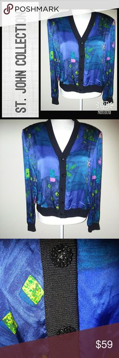 St. John Collection Blue Floral Cardigan Sz 12 St John Collection Blue Floral Cardigan  Beautiful pattern and buttons   St. John's Cardigans often retail over $500  Size 12   Measurements coming soon or upon request St. John Collection Sweaters Cardigans