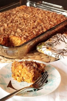 Pumpkin Pie Coffee Cake    Ingredients    ⅓ cups Water   1 can Pureed Pumpkin (15 Oz)   2 whole Eggs   1 Tablespoon Vanilla Extract   2 teaspoons Pumpkin Pie Spice   1 box Yellow Cake Mix (18 Ounce Box)   1 teaspoon Baking Soda   1 cup Brown Sugar, Divided   ½ cups Flour   4 Tablespoons Butter, Melted   ¼ cups Granulated Sugar   1 teaspoon Vani