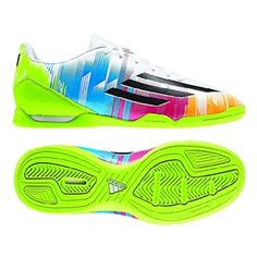 $44.99 - Buy your Adidas Messi F10 Youth Indoor Soccer Shoes (White/Black/Solar Slime)  at your online soccer store - SOCCERCORNER.COM