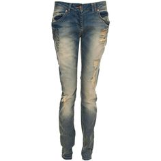 Crafted Slim Fit Cross Detail Jeans ($20) ❤ liked on Polyvore featuring jeans, pants, bottoms, calças, pantalones, blue ripped jeans, distressed straight-leg jeans, carpenter jeans, urban jeans and straight leg jeans