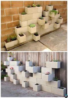 DIY Vertical Cinder Block Garden Planter-10 Simple Cinder Block Garden Projects #modernyardcinderblocks