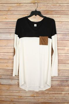 Black & Ivory Color Block Tunic With Suede Elbow Patches And Pocket | Jack & Monroe Boutique | Free Shipping | True To Size:          S(2-4), M(6-8), L(10-12) Material: Rayon Polyester Blend