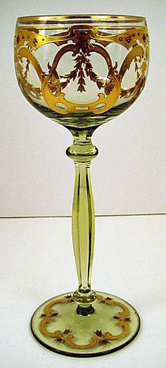 Handsome Bohemian Enameled Wine Glass. pre 1900. Europe.