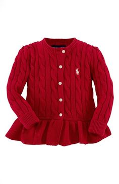Free shipping and returns on Ralph Lauren Peplum Cardigan (Baby Girls) at Nordstrom.com. A cable-knit cardigan detailed with signature pony embroidery at the chest features a delightful peplum for a fashion-forward touch.