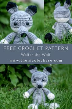 Walter the Wolf - Free Crochet Pattern — Nicole Chase Amigurumi Stuffie Croch. Walter the Wolf – Free Crochet Pattern — Nicole Chase Amigurumi Stuffie Crochet Worsted Stuffe Crochet Fox Pattern Free, Softie Pattern, Crochet Patterns Amigurumi, Free Crochet, Free Pattern, Crochet Wolf, Crochet Animals, Animal Knitting Patterns, Stuffed Animal Patterns