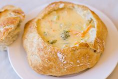 Broccoli Cheddar Soup in a Bread Bowl