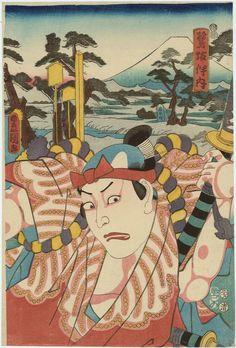 歌川国貞: Actor Bandô Mitsuemon I as Sagisaka Bannai - ボストン美術館