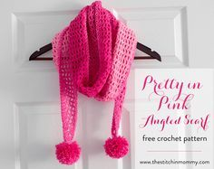 ec03b7c605c1a Pretty in Pink Angled Scarf - Free Crochet Pattern - Scarf of the Month  Club hosted