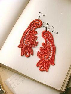 lace earrings -CALLISTA- tangerine