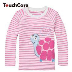 0611d4616 Fall Winter Cute Baby Girl Long Sleeve Cotton T shirts Pink Stripe Tortoise Children  T-shirt Kids Infant Clothing Baby